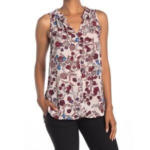 Vince Camuto Gathered Floral Sleeveless Blouse